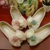 Wholesale 5 Pairs Baby Shoes Girls Lace Rose Flower Mary Jeans Shoes Children Kids Cute Foot Wear GB0814013