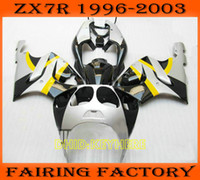 Black silver custom fairing for KAWASAKI Ninja ZX7R 1996- 200...