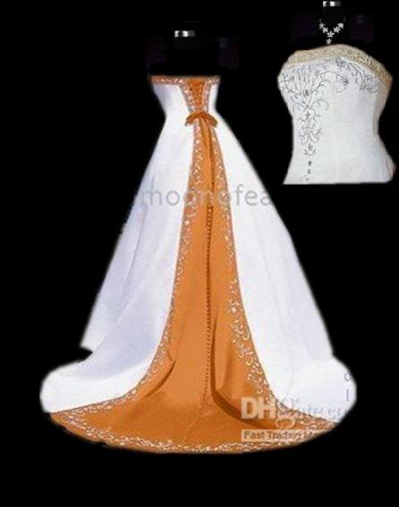 White And Orange Sexy Wedding Dress/Gown/Bridesmaid Dress/Formal ...