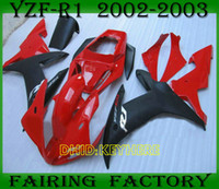 Red blk motorcycle Custom Race fairings for YZFR1 02 03 YAMA...