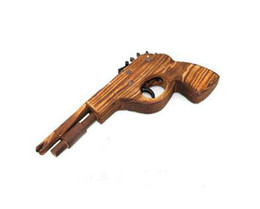 12 pcs lot Classical Rubber Band Launcher Wooden Pistol Gun (Toy) Free Shipping