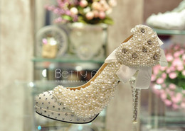Wholesale 2013 new bowknot pearl wedding shoe with hot water crystal bride high heeled shoes