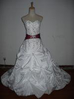 Wholesale Actual images white strapless Chapel Train applique taffeta red ribbon Bubble hem wedding dresses