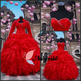 Wholesale Red Ball Gown With Long Sleeves Bolero Sweetheart Lace up Beaded Contoured Sweet Princess Prom Gowns Quinceanera Dresses with Jacket
