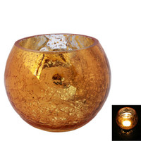 Glass glass candle holder - Wedding Party Ice Flower Glass Candle Holder Golden