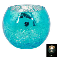 Wholesale New Wedding Party Ice Flower Glass Candle Holder Blue