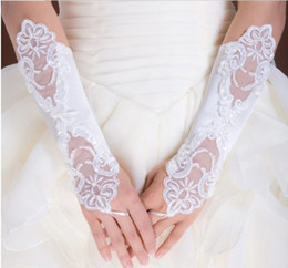Wholesale Hot white Bridal Gloves Bud silk embroidery Wedding jewelry Pure white fingerless gloves