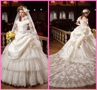 Wholesale New Design Ball Gown Wedding Dress Bridal Gown Ivory Off The Shoulder Pleat Lace Decoration Gorgeous Fashion Bridal Wedding Dress