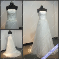 Hollow drop waist - a line dropped waist wedding dress real sample strapless pleated tulle decollete dress Suzhou