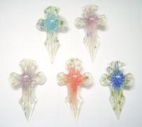 Wholesale 10pcs Multicolor Cross Murano Lampwork Glass Pendants For DIY Jewelry PG15