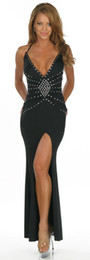 Wholesale sexy black women long dresses v neck beaded sequin girls evening party club wear skirt clubwear jupe