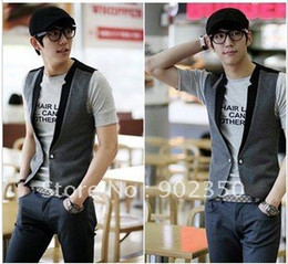 Wholesale fashion casual vest for men V neck contrast color vest top one button south korean sty