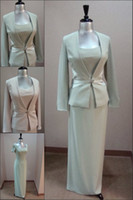 Wholesale Gorgeous Cheap Sheath Long Sleeve Jacket Beading Ankle Length Wedding Mother Of The Bride Dress