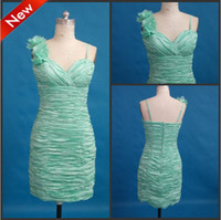 Wholesale New Style Jade Green Silk Like Satin Spaghetti Strap Sheath Mini Flower Pleated Cocktail Dresses