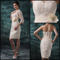 In Stock Short Champagne Mother Of Bride Dresses Jacket Lace...