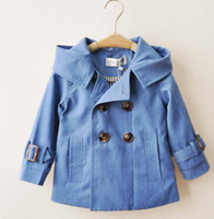 Wholesale Boys Christmas Trench Coats Children Double Breasted Hooded Jackets Baby Clothing