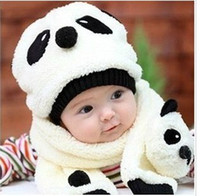 Wholesale hot children hat wool hat scarf two piece set Panda baby caps children animal cap Warm winter