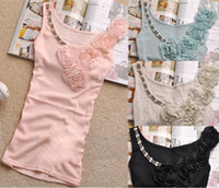Wholesale Factory Directly retail Fashion Lady s Cotton Tank Top with Lace Rose Flowers and Pearls Hot Selling beaded vest