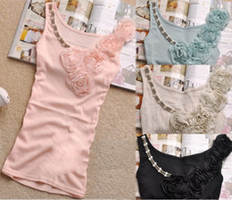 Wholesale Hot Sale Fashion Lady s cotton tank top with rose and jewellery T007 Katy amp Michael