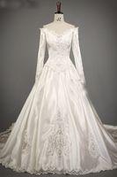 A-Line africa portrait - 2016 Retro Long Sleeve Lace Applique V Neck Pearl Satin Lebanon Africa Wedding Dress Bridal Gown
