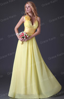 Model Pictures flower Sleeveless Grace Karin 2013 Sexy V-neck Flower Bridesmaid Dress A-line Chiffon Evening Gown Ball Prom Dresses CL3462