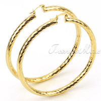 Wholesale Womens Girls Big Round Hoop K Gold Filled Earrings GE11