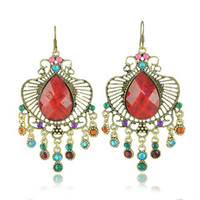 Wholesale Noble Vintage Earrings Large Stone Bling Glass Bead Tassels Drop Earrings pairs E049