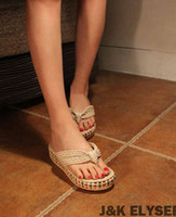 Flip Flops cheap slippers - HOT cheap cane bottomed sponge cake with cool fashion slippers sandals Color