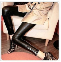 Skinny,Slim Other Capris Price Discount Fashion trends in Europe and the United States Air Force Matt leather zipper Leggings