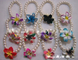 New style 24pcs mixed color polymer clay jewelry one row pearl bracelet polymer clay flower bracelet