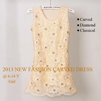 Wholesale 2013 Christmas Baby Girl Dress Yellow Carved Flower With Diamond Pageant Party Dresses Kids Clothing