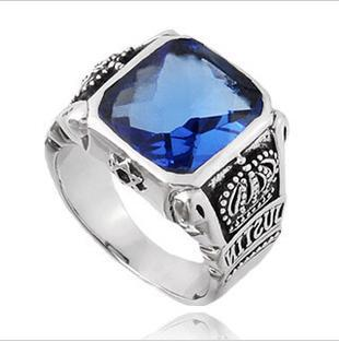 2017 Thai Silver Ring Men's Genuine 925 Sterling Silver ... Silver Rings For Men With Blue Stone