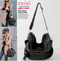 Black Women Stripes New hot sale Women's Korean Hobo PU Tassel Large Handbag Shoulder Bag Large Capacity handbags