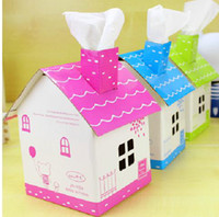 Wholesale Chipboard House type Folding Tissue Roll Paper Case Box Cover Holder Gift Pink Blue Green