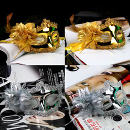 On Sale Luxury Party Masks Gold Silver Woman mask flower aside half face masquerade Mask wedding gift mardi gras costume free shipping