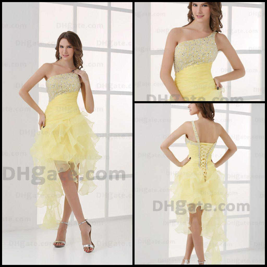 Luxury Yellow Short Prom Dresses One Shoulder Ruched Organza Beads ...