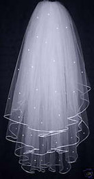 Wholesale 3 Layers White Wedding Bridal Dress Tiara Beads Veil Hot Sale Q