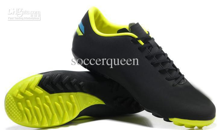 2017 Black Neon Green Turf Indoor Soccer Shoes Men Tf Ic Football ...