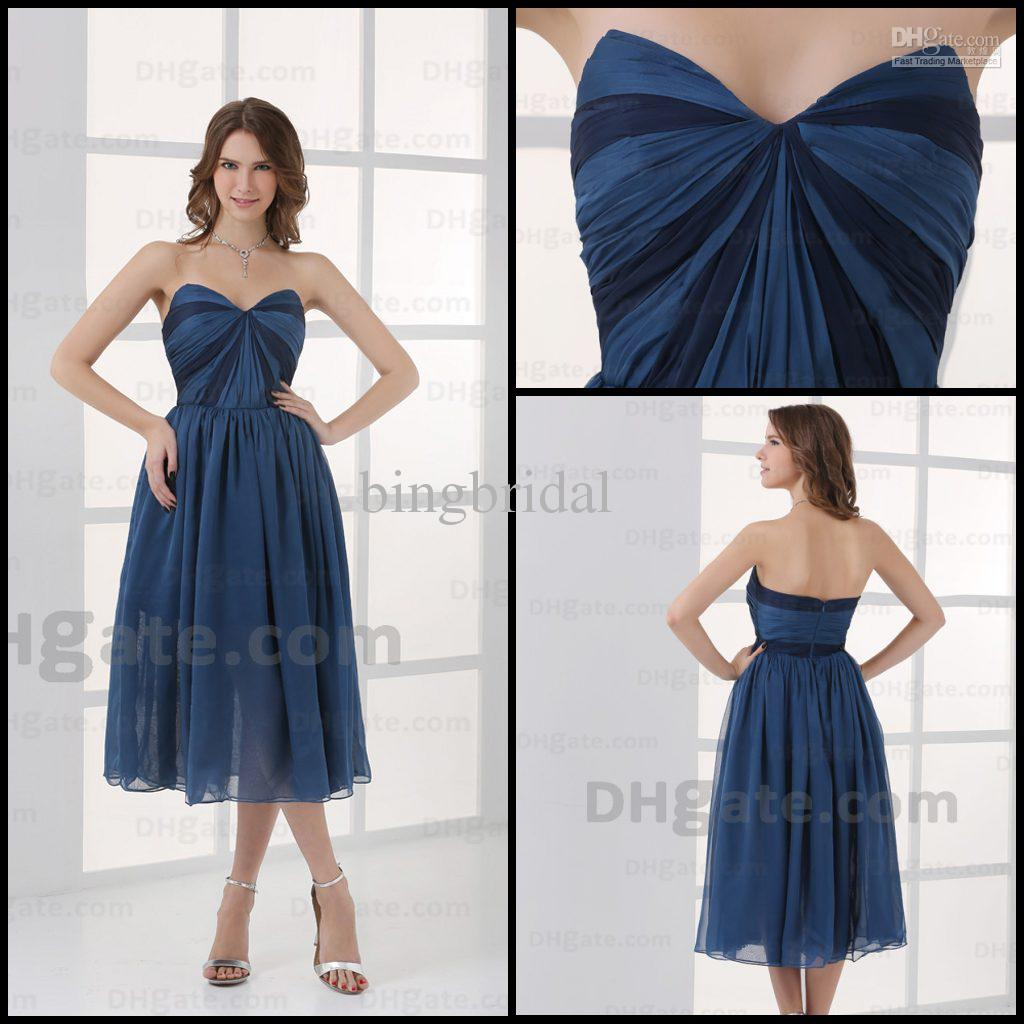 Wedding Simple Bridesmaid Dresses simple bridesmaid dresses tea length sweetheart a line ruched chiffon blue gown actual images