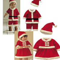 Wholesale Baby Christmas Suits Christmas Costume Santa Baby Dress Santa Claus Romper