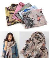 Wholesale New Begonia Flower ink Style Cotton Neck Scarf Shawl