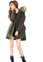 Wholesale Women s Real Raccoon Fur Collar Hood Drawstring Waist Coat Thicken Detachable Liners coat