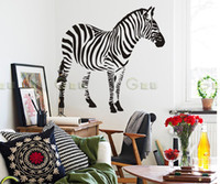 Removable bedroom furniture tv - Wall stickers zebra living room sofa TV bedroom den children s room furniture Wall St