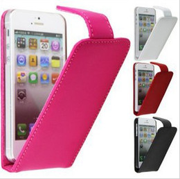 4pcs FLIP COWSKIN LEATHER HARD BACK CASE COVER FOR APPLE IPHONE 5 5G BLACK,RED,ROSE RED,WHITE