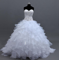 Wholesale Hot Sale Fashion Ball Gown Sweetheart Floor length Sweep Brush Applique Beaded Bridal Wedding Dress
