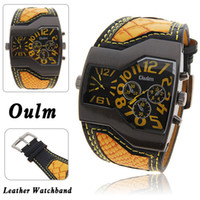 Wholesale New Top Brand Oulm Military Men s Watch with Dual Movt Dial Leather Band five colors for choosing
