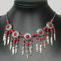 Wholesale BEAUTIFUL JEWELRY TIBET STYLE TIBETAN SILVER RED CORAL NECKLACE
