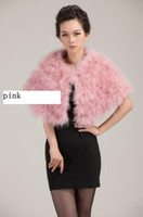 Wholesale True ostrich hair fire feather feather shawl small coat fur coat pink