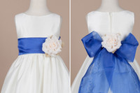 ribbon bow and flowers - White Blue floor length bateau satin with organza ribbon and bow flower girl dress years