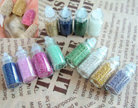 Nail Art 3D Decoration beads nail color - 12 bottle color Tiny Round Bead Metallic Caviar Studs For Nail Art Decoration